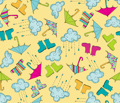 rainydayrepeat_yellow fabric by kpmdoodles on Spoonflower - custom fabric