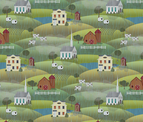 a rainy country day fabric by littlerhodydesign on Spoonflower - custom fabric