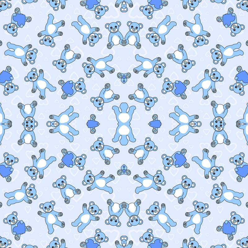 Teddy Bear Blues Fabric Jsdesigns Spoonflower