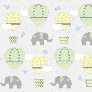 Hot Air Balloon Elephant Yellow Green