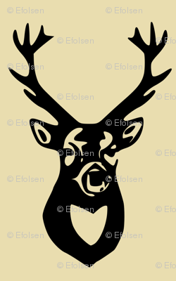 Black Deer on Tan