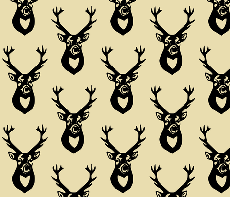 Black Deer on Tan fabric by efolsen on Spoonflower - custom fabric