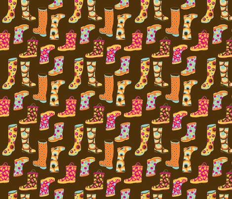 Rainboots in NYC Brown fabric by deesignor on Spoonflower - custom fabric
