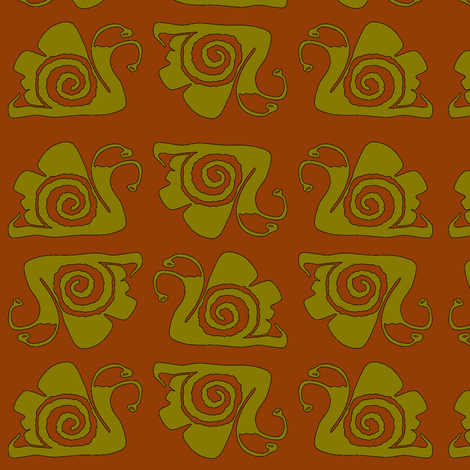 snails (sweet potato + green olive) fabric by christine_wichert_arts on Spoonflower - custom fabric