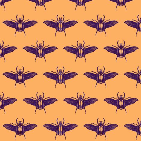 scarabs in flight purple/peach fabric by tallulah11 on Spoonflower - custom fabric