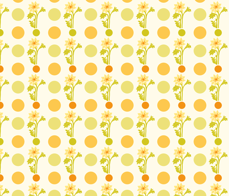yellow flowers and dots fabric by suziedesign on Spoonflower - custom fabric