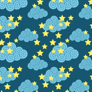 swirly clouds and stars