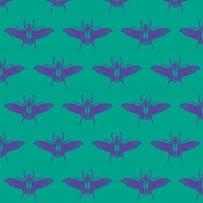 scarabs in flight lilac/turquoise