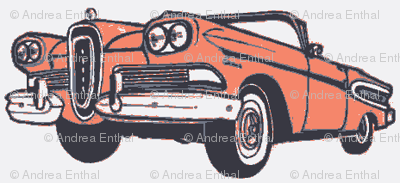 1958 Edsel Citation convertible in sunset coral on white background