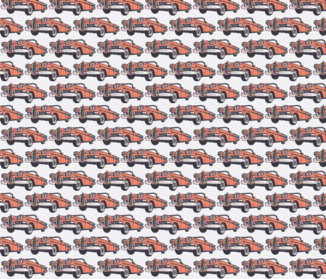 1958 Edsel Citation convertible in sunset coral on white background fabric by edsel2084 on Spoonflower - custom fabric