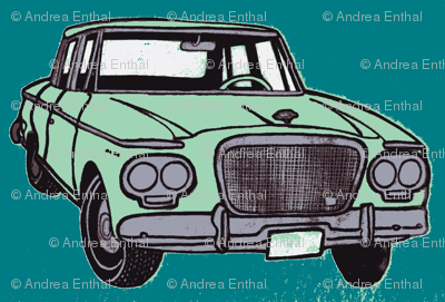 twin headlight Studebaker Lark, light green on teal