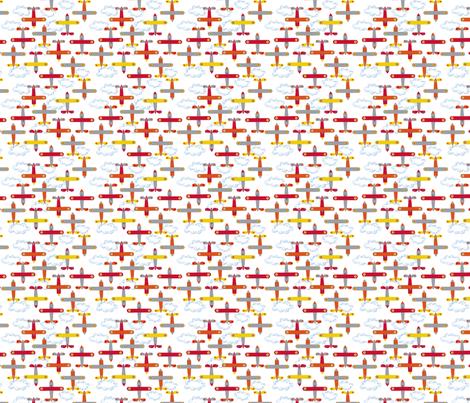les_avions_de_léon_orange fabric by nadja_petremand on Spoonflower - custom fabric