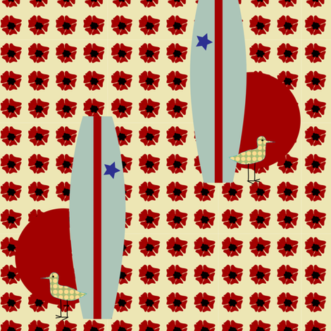 surfing piper - hibiscus fabric by krihem on Spoonflower - custom fabric