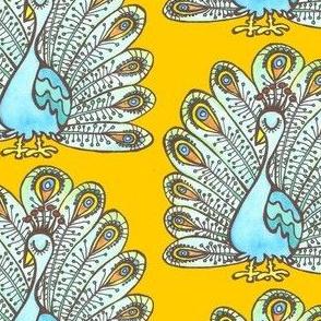 Peacock - orange background