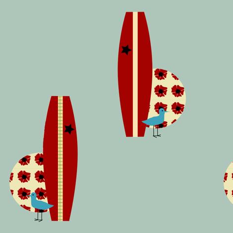 surfing piper - robbins egg fabric by krihem on Spoonflower - custom fabric
