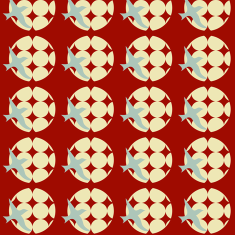 moon bird red fabric by krihem on Spoonflower - custom fabric