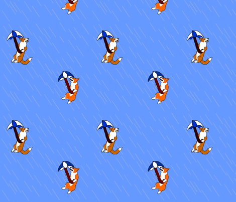 Raining Corgis fabric by rusticcorgi on Spoonflower - custom fabric