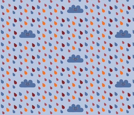 Rain in blue fabric by bora on Spoonflower - custom fabric