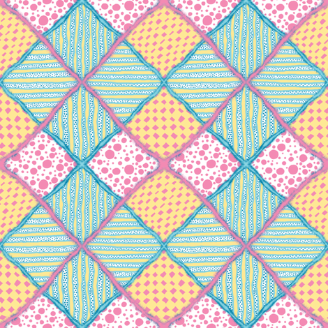 Harlequin Darling #1 with Fur - 4 inch  fabric by tallulahdahling on Spoonflower - custom fabric