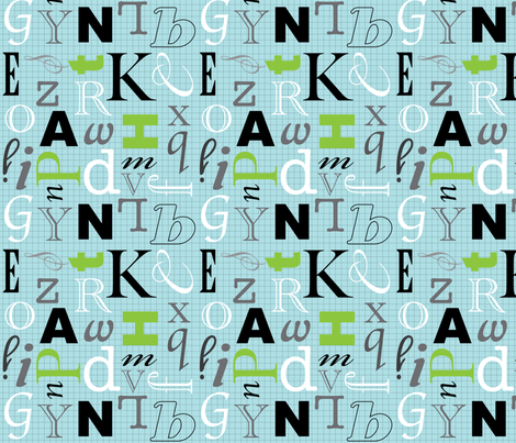 Alphabet- Blue Grid fabric by audreyclayton on Spoonflower - custom fabric