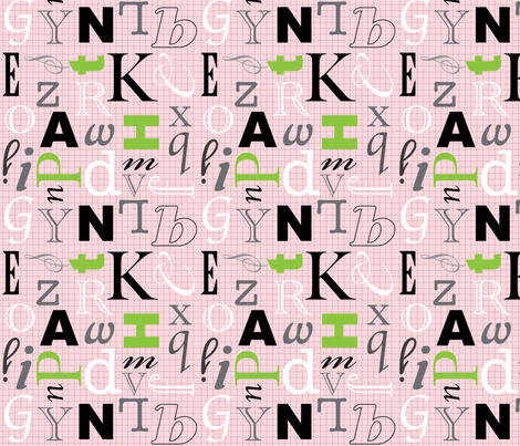 Alphabet- Pink Grid fabric by audreyclayton on Spoonflower - custom fabric