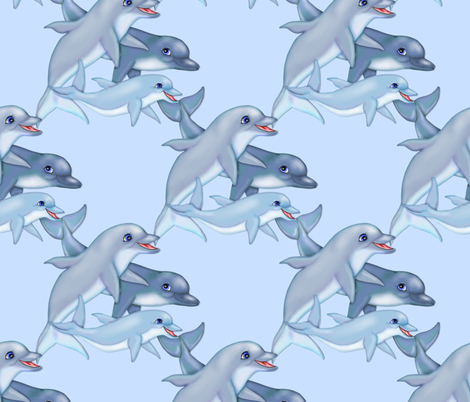 Dolphin Family fabric by spicetree on Spoonflower - custom fabric