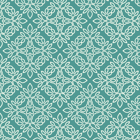 BLUE-GREEN_mini-papercut_cream-outlines fabric by mina on Spoonflower - custom fabric