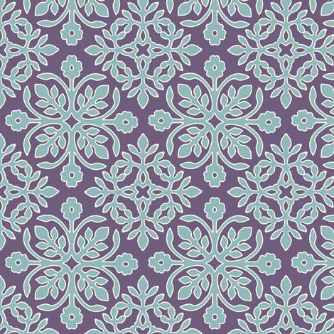 EGGPLANT_2_papercuts_diagonal_AQUA_cream_outlines fabric by mina on Spoonflower - custom fabric