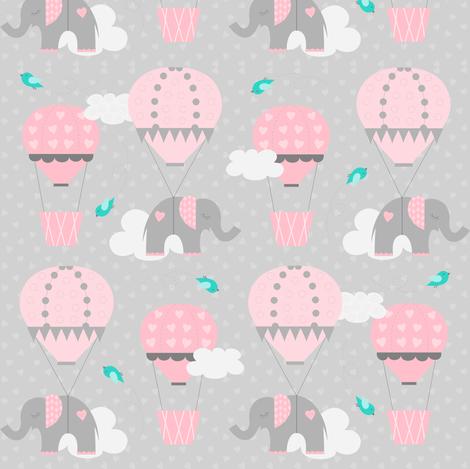 Hot Air Balloon Tiny Elephants fabric by jenniferfranklin on Spoonflower - custom fabric