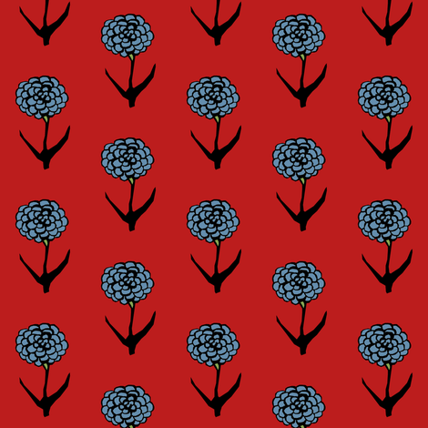 Blue Zinnia fabric by pond_ripple on Spoonflower - custom fabric