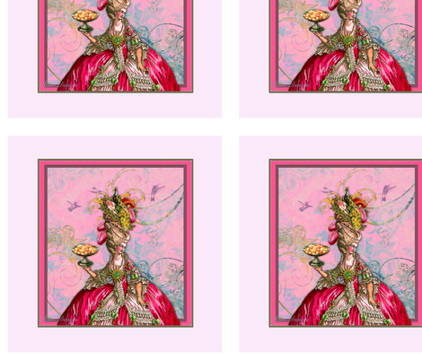 Marie Antoinette Peacock and Cakes Pillow Panel fabric by greerdesign on Spoonflower - custom fabric