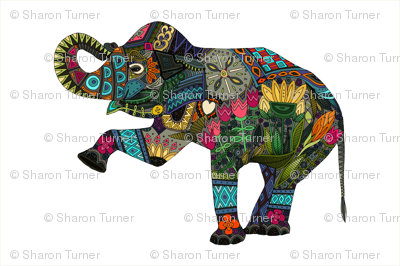 asian elephant tea towel