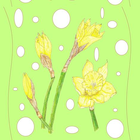 Spring Rain - Daffodils fabric by ccreechstudio on Spoonflower - custom fabric