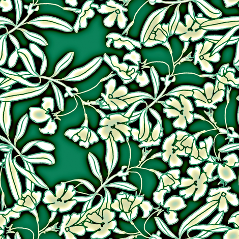 Floral Moonlight in Jade fabric by joanmclemore on Spoonflower - custom fabric