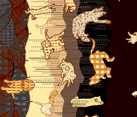 Raining Coffee, Cats, and Dogs  fabric by kaerushisho on Spoonflower - custom fabric