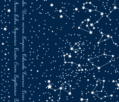 """Map"" of our sky, border fabric by mariao on Spoonflower - custom fabric"