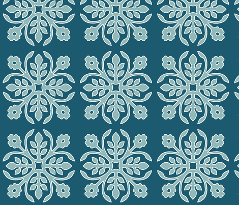 DEEP-PEACOCK_papercut2-rose_TURQ_offwhite-lines fabric by mina on Spoonflower - custom fabric
