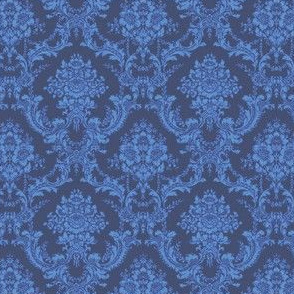 China Blue (dark) Damask/Toile-