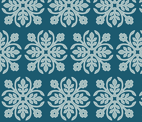 DEEP-PEACOCK_papercut2-rose_greygreen_cream-lines fabric by mina on Spoonflower - custom fabric