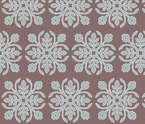 COCOA-BROWN_Papercut2-Rose_soft-aqua_cream_outlines fabric by mina on Spoonflower - custom fabric