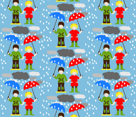 HeimatKinder Girl and Boy in Rain fabric by heimatkinder on Spoonflower - custom fabric