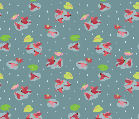 Flying in the Rain fabric by gracedesign on Spoonflower - custom fabric