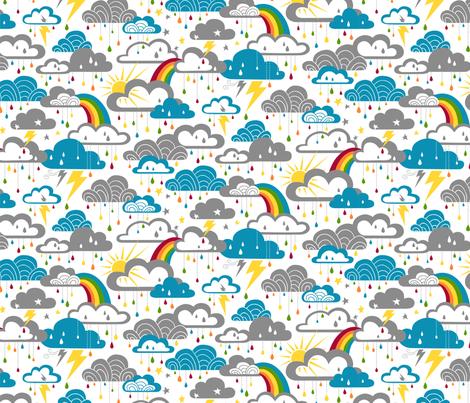 Rainbow Raindrops fabric by cherii on Spoonflower - custom fabric