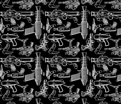 Ray Gun Revival (B&W) (8x8) fabric by studiofibonacci on Spoonflower - custom fabric