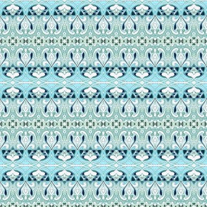 Art Nouveau Blue Granny Stripe (horizontal)