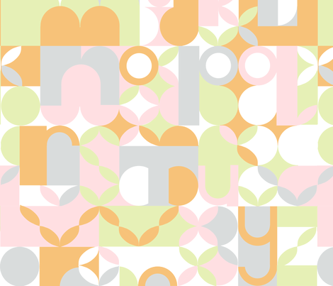 "MODERN ALPHABET in ""CREAMSICLE"" fabric by trcreative on Spoonflower - custom fabric"