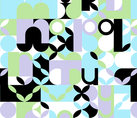 "MODERN ALPHABET in ""THISTLE"" fabric by trcreative on Spoonflower - custom fabric"