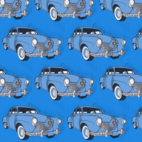 Huge 1951 bulletnose Studebakers facing right fabric by edsel2084 on Spoonflower - custom fabric
