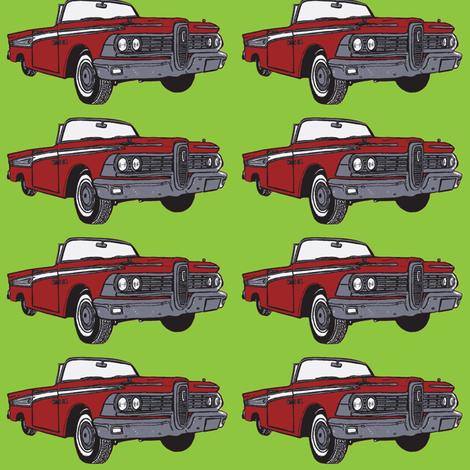 Giant 1959 red Edsel Corsair convertible on green background fabric by edsel2084 on Spoonflower - custom fabric