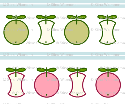 An apple a day ... - red and green Apples with light blue Stripes